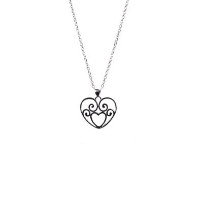 Romantic Scrolling Heart Pendant Necklace