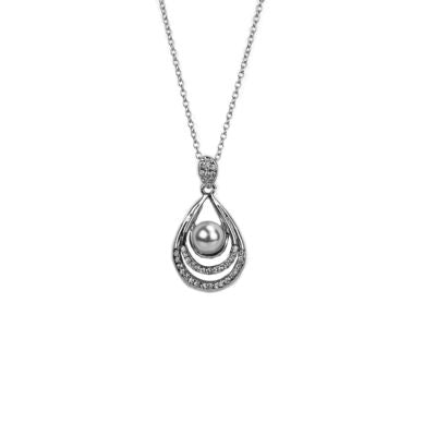 Silver Tone Pearl and Crystal Teardrop Pendant