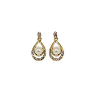 Gold Tone Pearl and Crystal Teardrop Earrings
