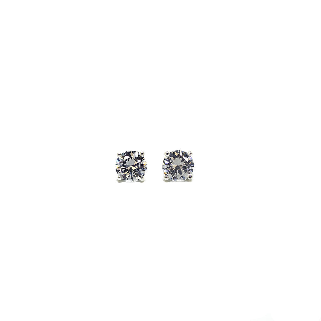 Round Cut CZ and Sterling Silver Stud Earrings