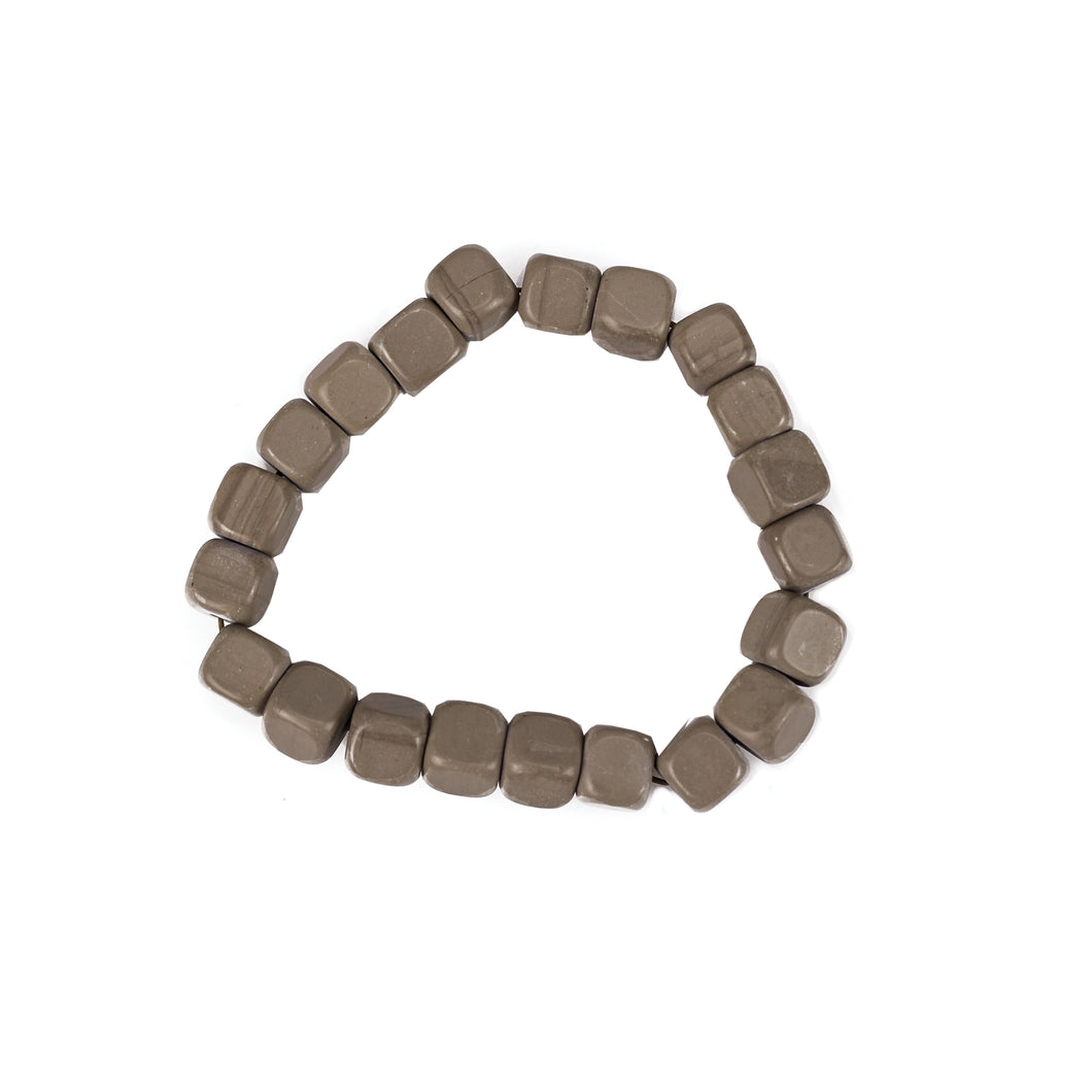 Slate Gray Squared Marble Stretch Bracelet