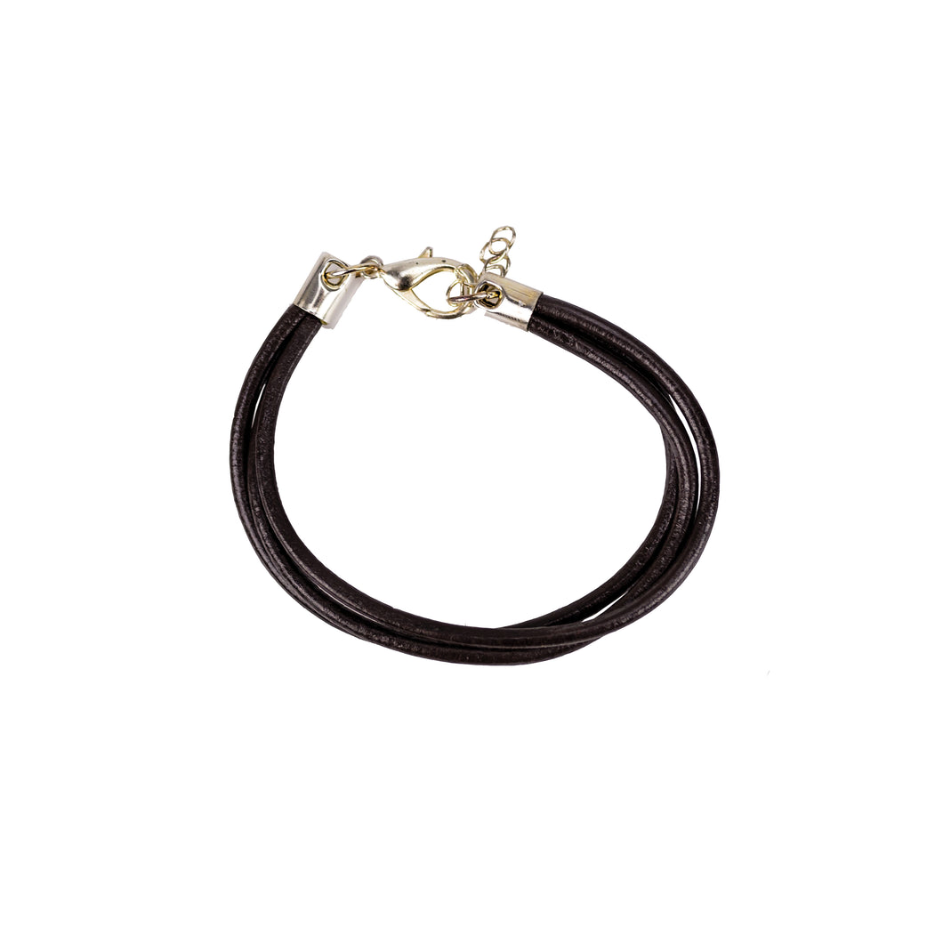 Three Strand Chocolate Brown Leather Bracelet