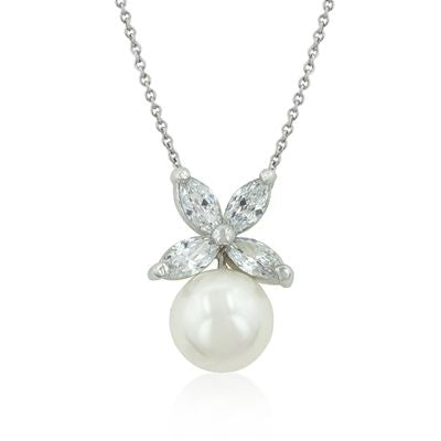 Flower Topped Pearl Pendant Necklace