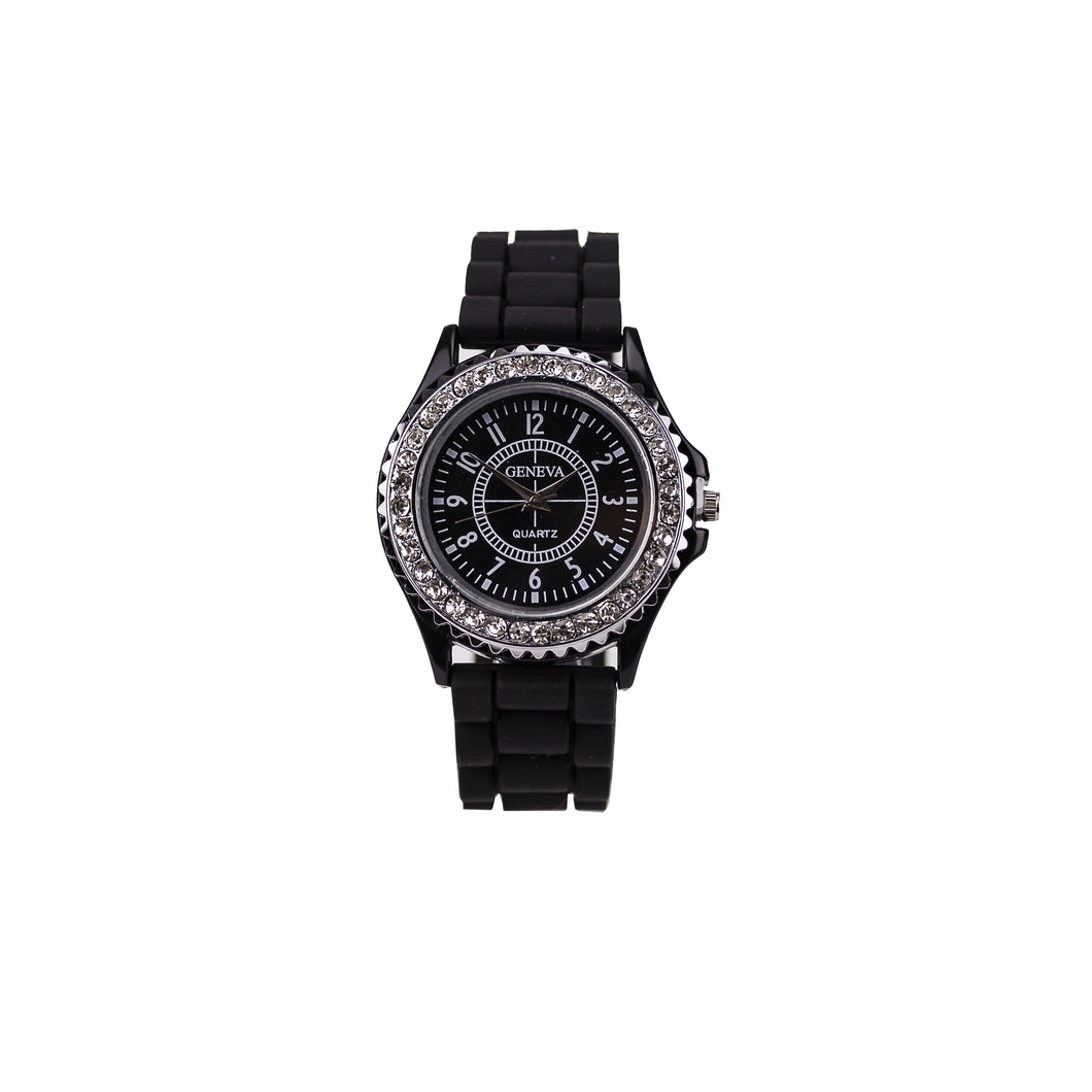 Women's Geneva Bling Black Sport Watch