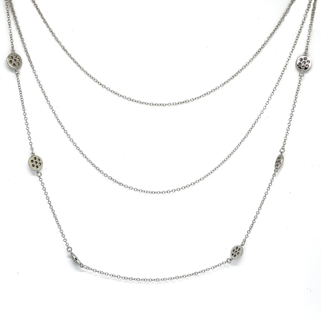 Pavé Disc Layered Necklace