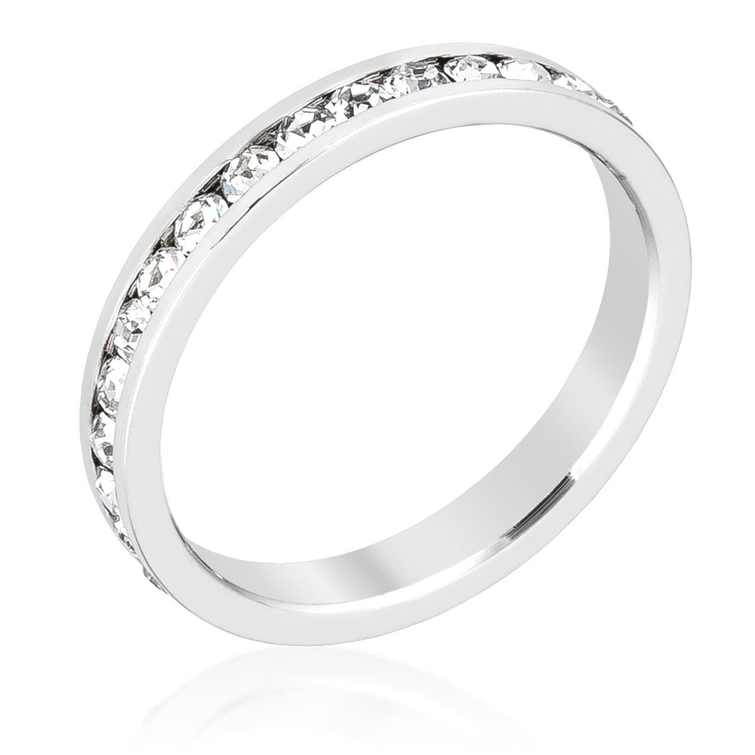 Stackable Clear Swarovski Crystal Silver Ring