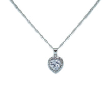 Load image into Gallery viewer, Silver Heart Shaped cz stones Jewelry Set