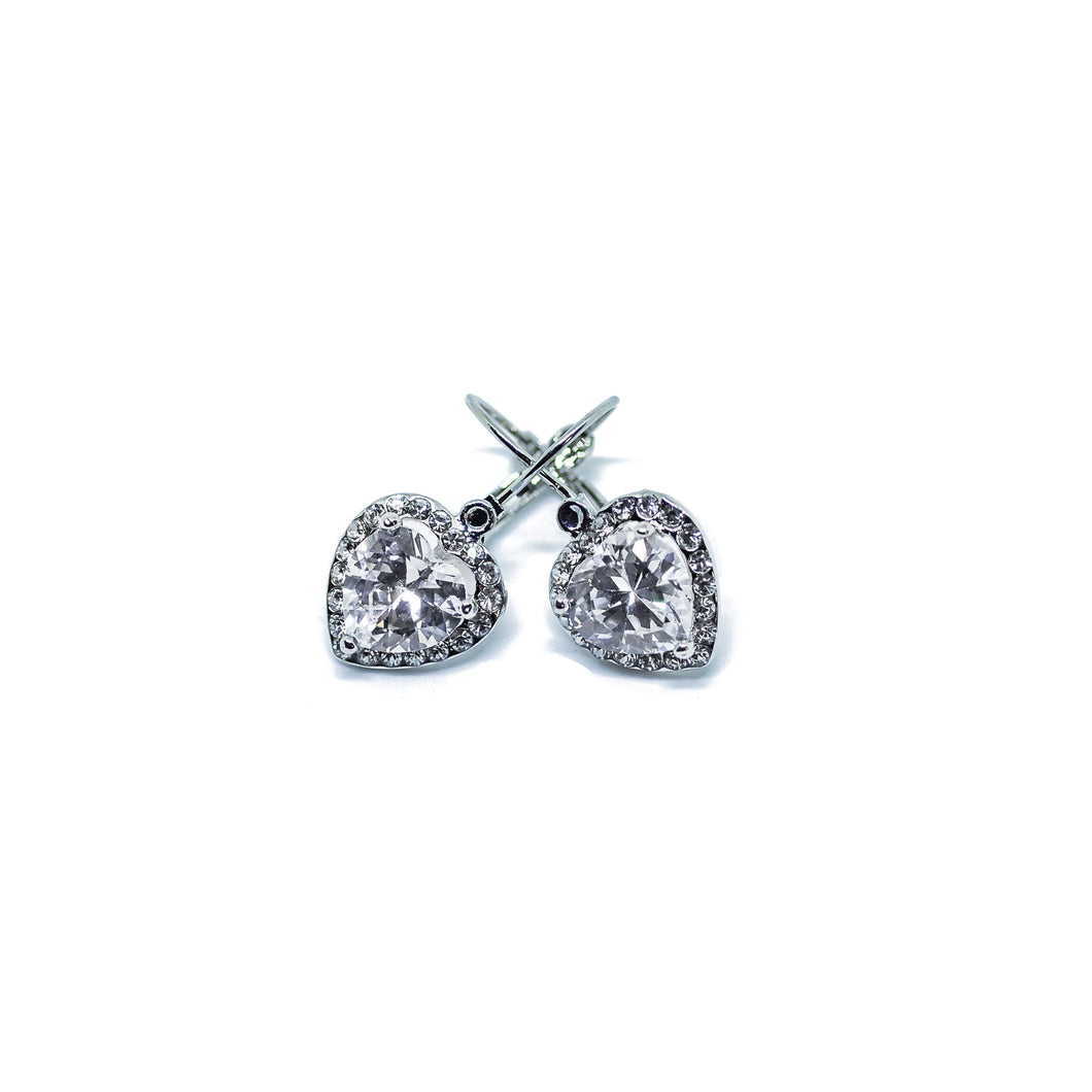 Silver Heart Shaped cz stones Jewelry Set