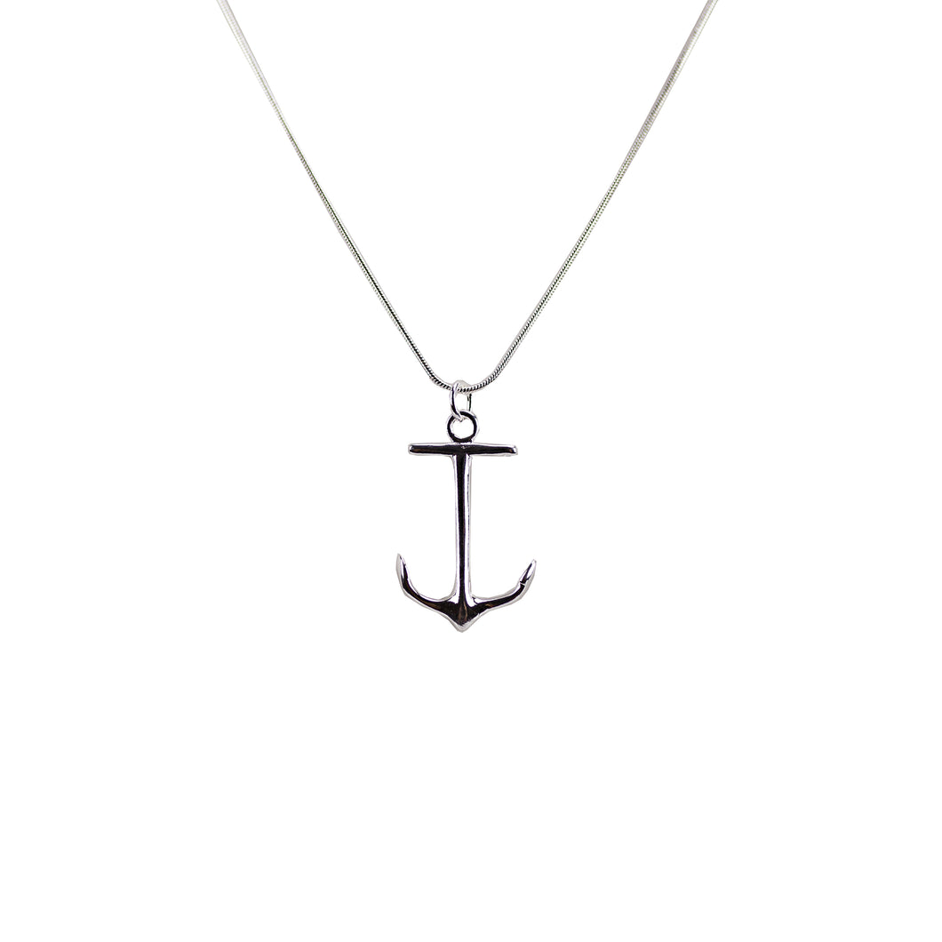 Silver Boat Anchor Necklace