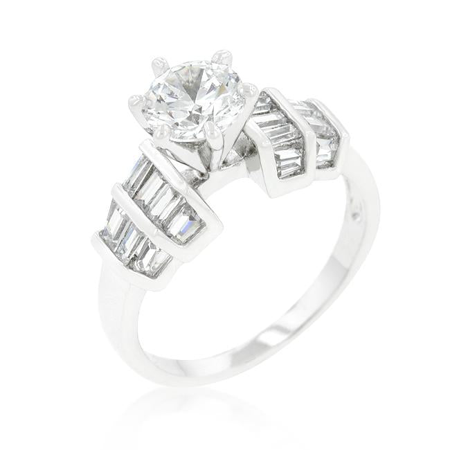 Tapered Baguette Cubic Zirconia Ring