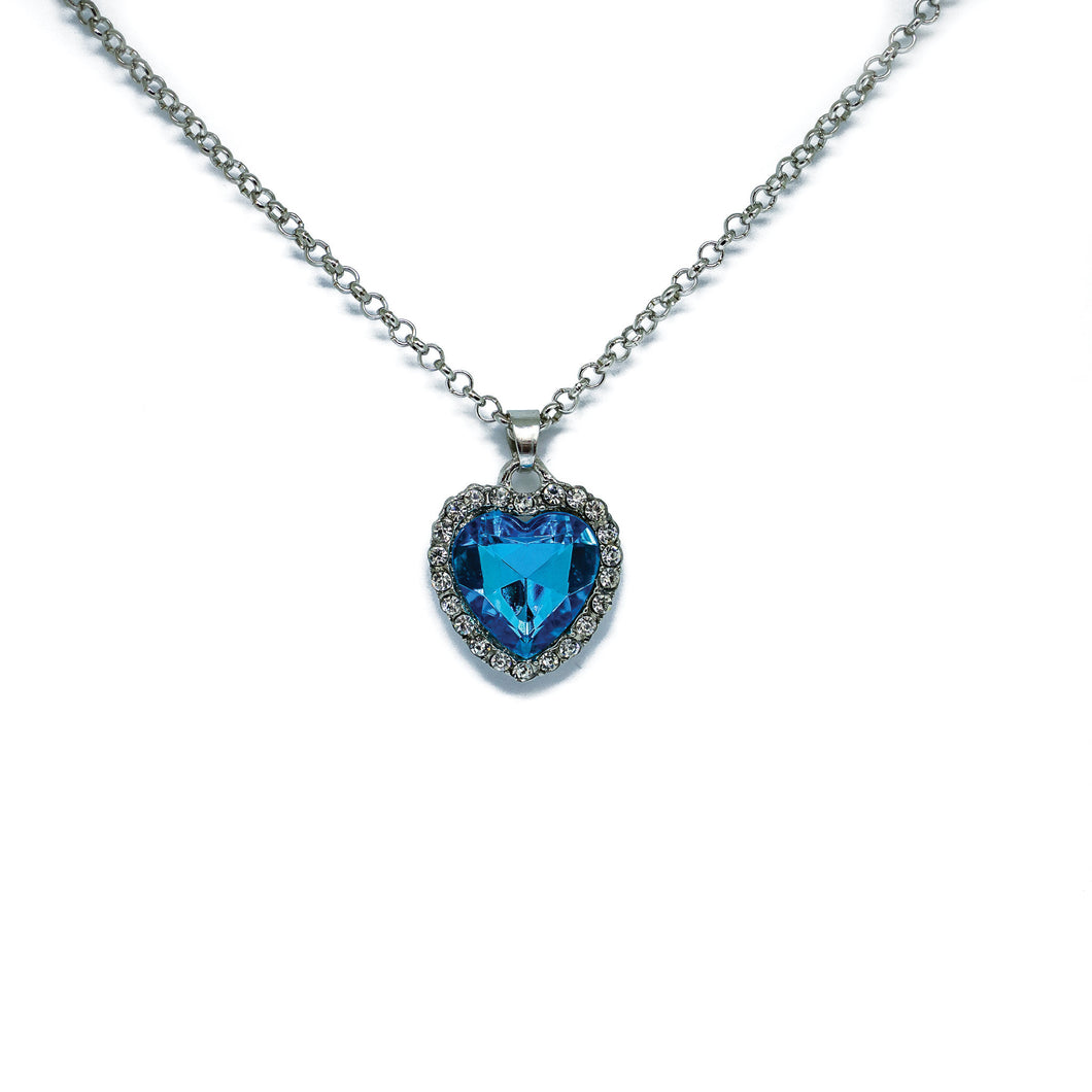 Blue For You Heart Pendant Necklace