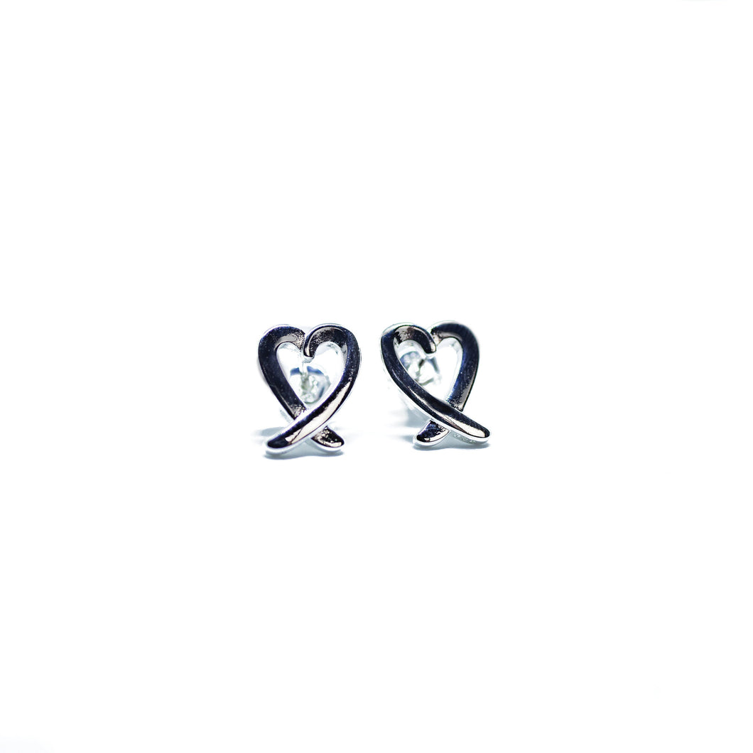 Modern Heart Earrings in Silver