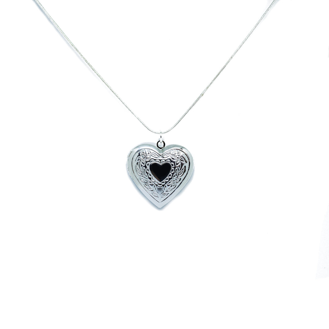 Engraved Heart Locket Pendant Necklace
