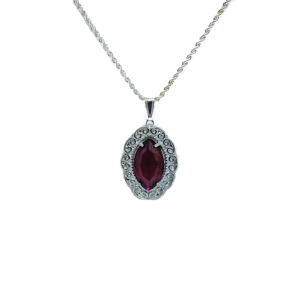 Silver Scroll Pendant with Red Crystal Inlay