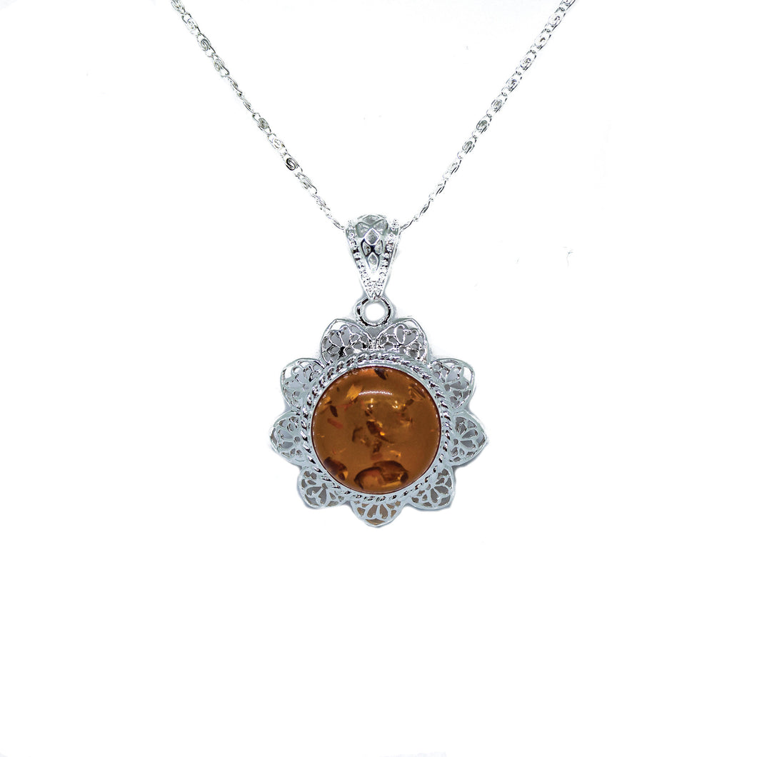 Amber Sunburst Pendant Necklace