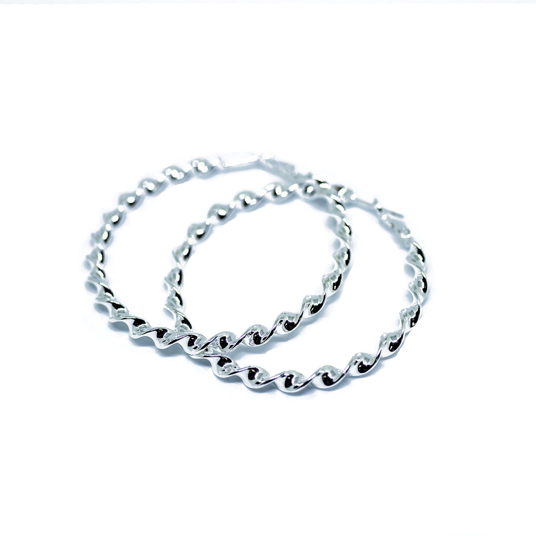 Silver Tone Large Twisting Hoop Earrings