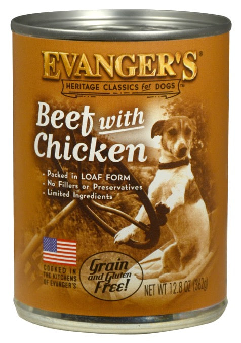 Evanger's Classic Recipes Beef with Chicken Grain-Free Canned Dog Food, 12.8-oz,