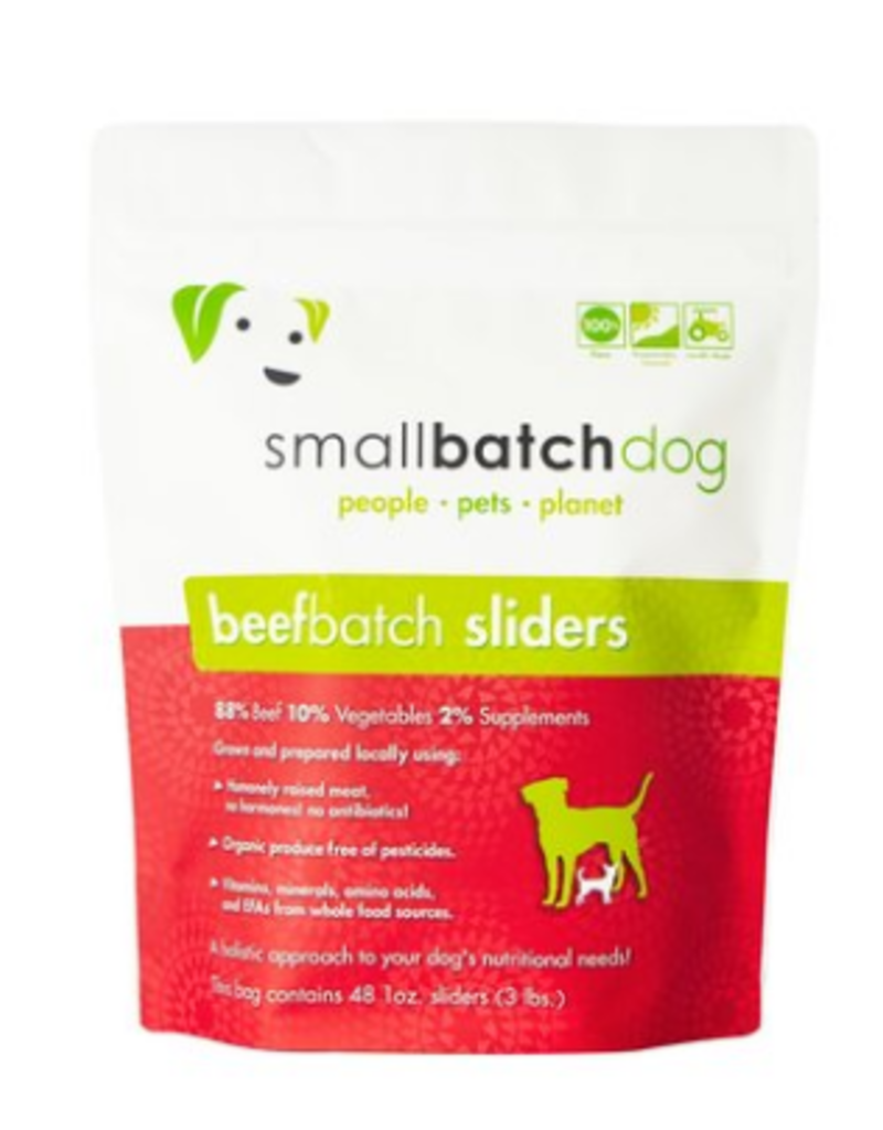 Small Batch Dog Beef Batch 1-oz Sliders Raw Frozen Dog Food, 3-lb