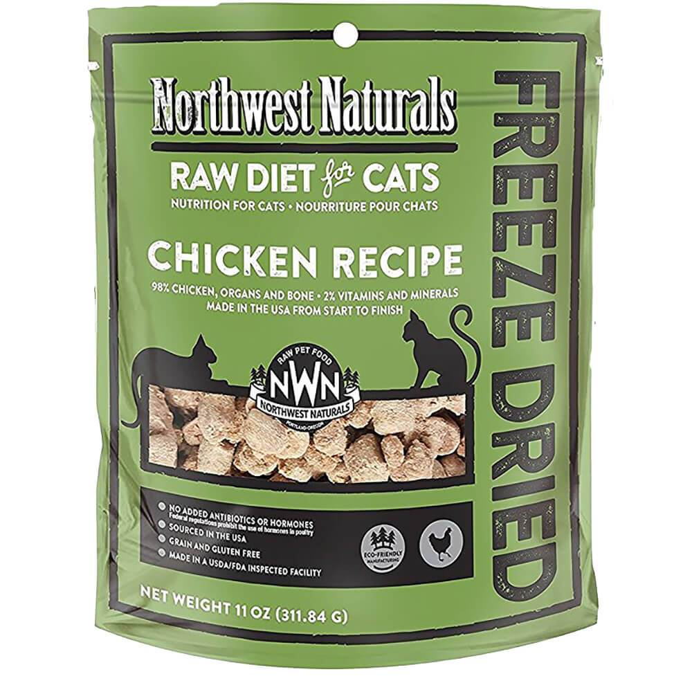 Northwest Naturals Raw Diet Grain-Free Chicken Nibbles Freeze Dried Cat Food, 11-oz