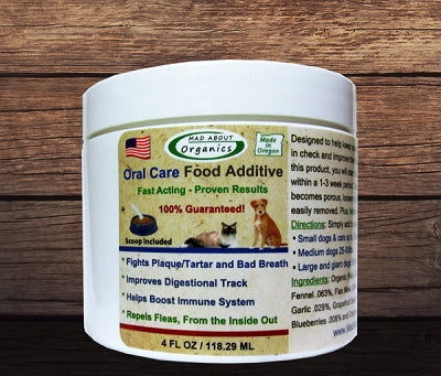 Mad About Organics All Natural Dog & Cat Plaque Remover Dental Food Additive 4-oz