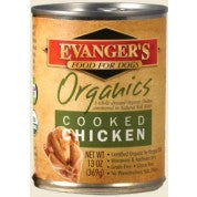 Evanger's Organics Cooked Chicken Grain-Free Canned Dog Food, 12.8-oz