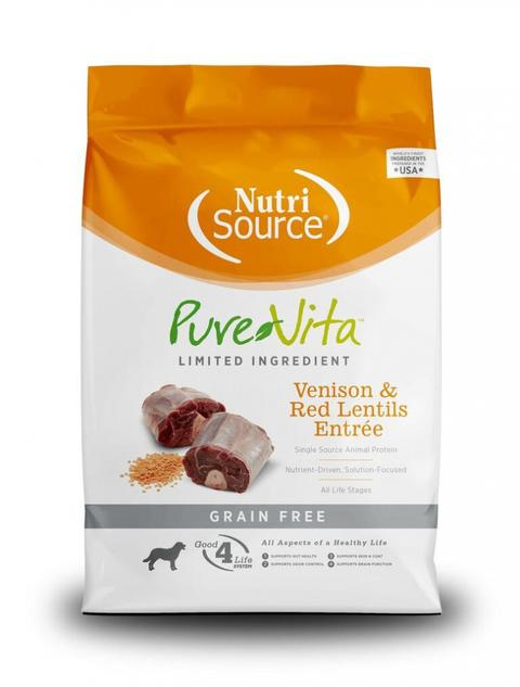 PureVita Grain Free Venison & Red Lentils Entree Dry Dog Food 25 lbs