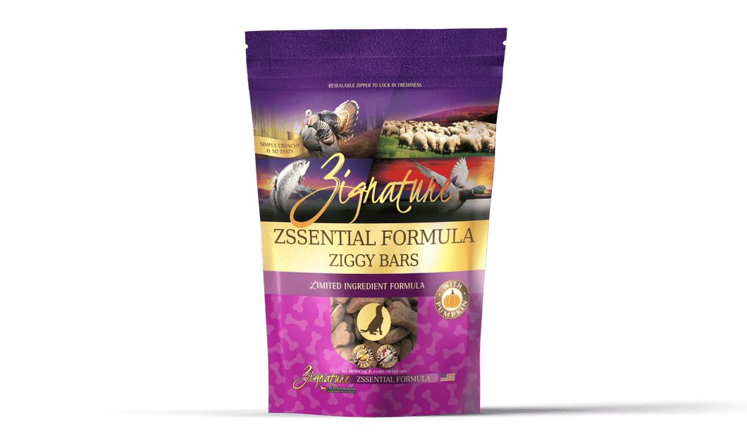 Zignature Zssential Formula Ziggy Bars Biscuit Dog Treats, 12-oz bag