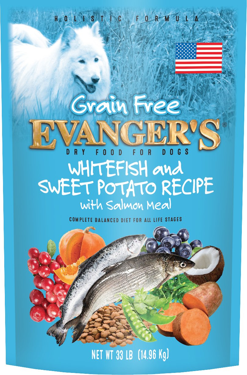 Evanger's Super Premium Whitefish & Sweet Potato Formula Grain-Free Dry Dog Food, 33-lb bag