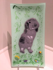 Wanda Tyner Glass Art Dexter the Rabbit custom order platter