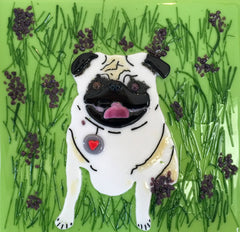 Wanda Tyner Glass Art custom art of Frankie the Pug