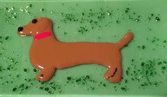 Wanda Tyner Glass Art Henry the Daschound