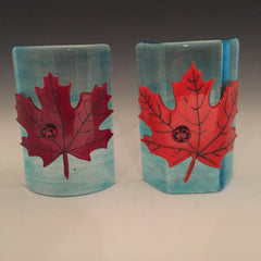 Wanda Tyner Glass Art custom order transparent small sculpture with maple leaves and ladybugs