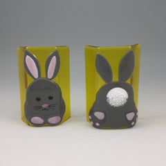 Wanda Tyner Glass Art custom order transparent small sculptures Easter bunny front and back