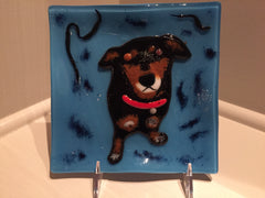 Wanda Tyner Glass Art Puppy