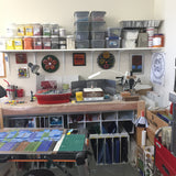 in the studio -- saws, grinder, glass