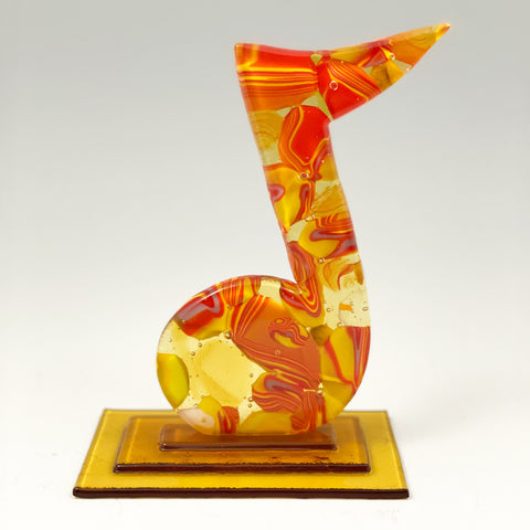 """6.5"""" glass yellow transparent with swirls of color music note sculpture"""