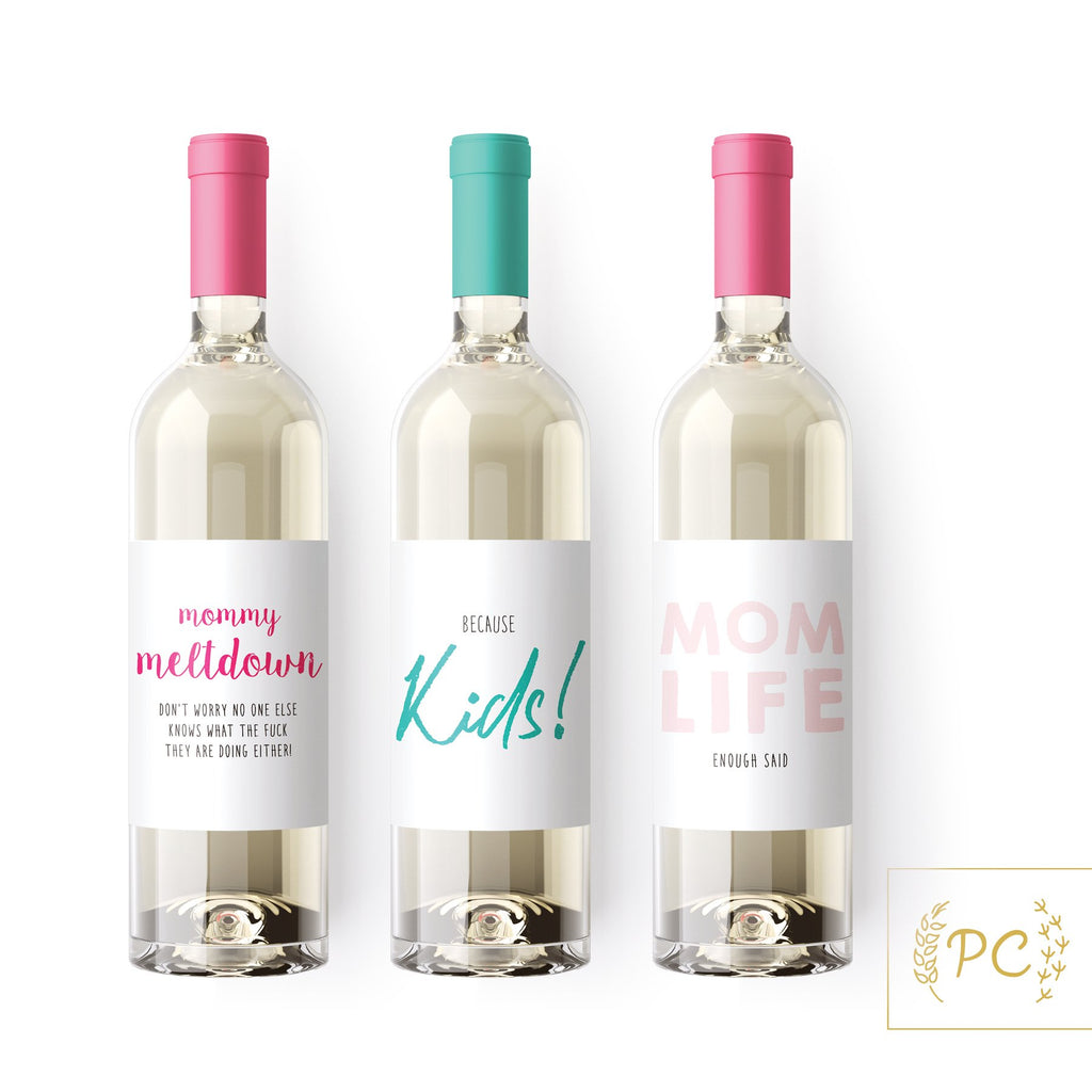 Mom Wine Labels - Prairie Chick Prints