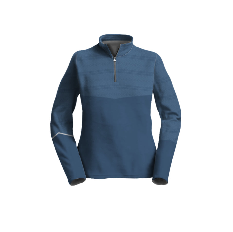Female 3/4 Mock Zip Running Top | Two-Tone Blue