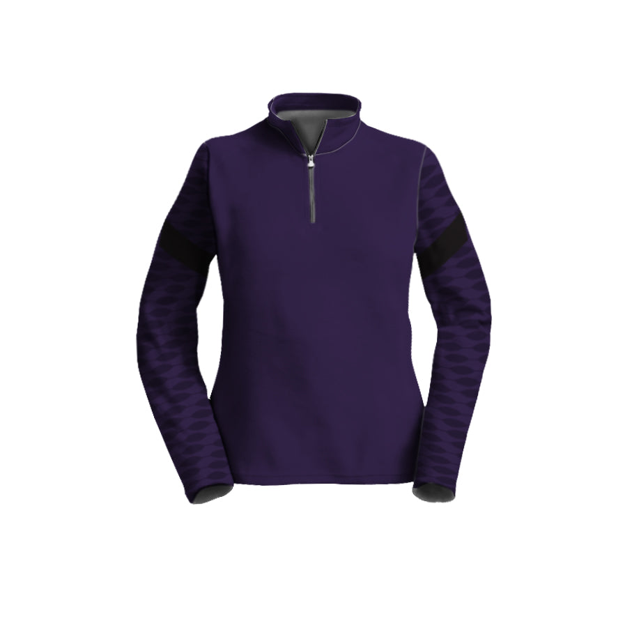 Female 3/4 Mock Zip Running Top | Purple