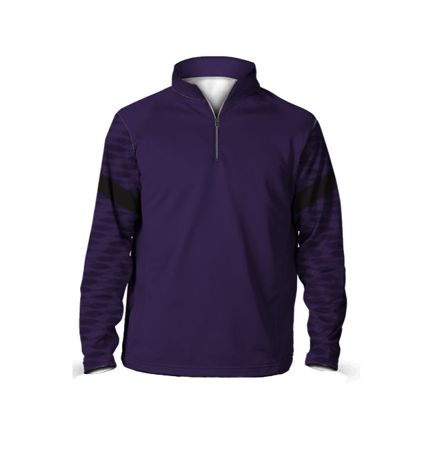 Male 3/4 Mock Zip Running Top | Purple