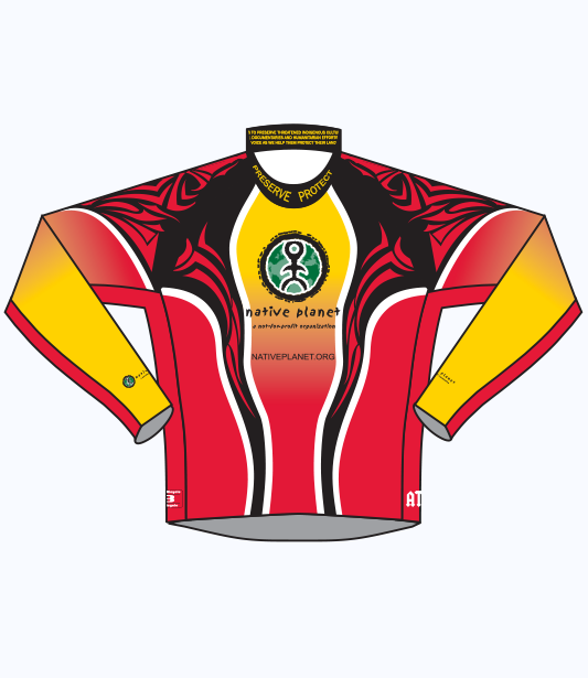 Native Planet Cycling Jersey - Long Slv - Black & Red Tribal