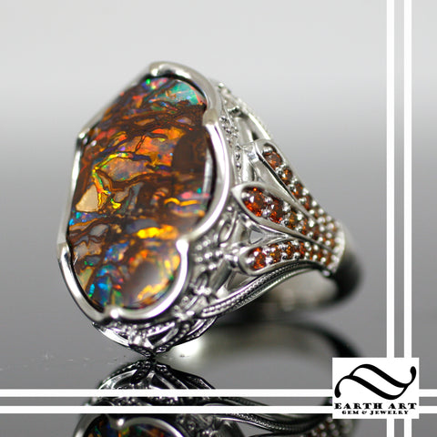 Custom boulder opal ring with cognac diamonds