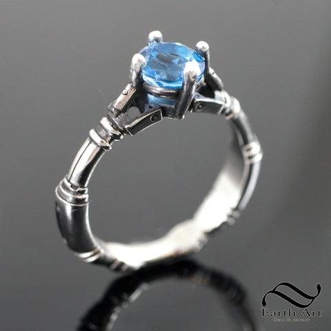 Ladies Sonic Screwdriver Ring - Sterling Silver - With topaz