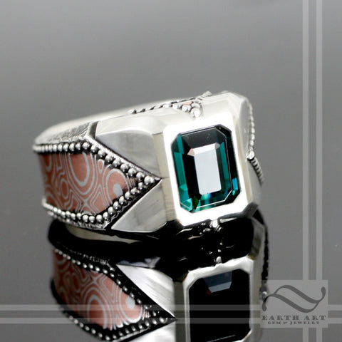 Indicolite Tourmaline Mens Signet Ring with Mokume Gane Inlay