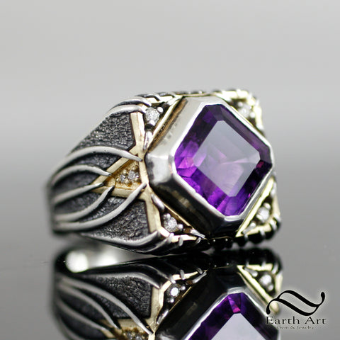 Aggressive Amethyst and Diamond Signet in 18k and Sterling Silver