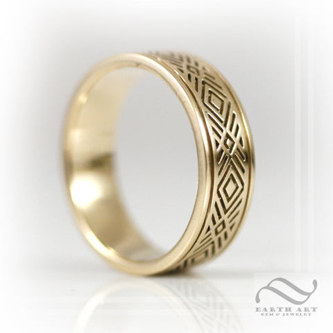Mens WIde Art Deco Inspired Band