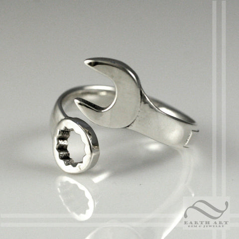Wrench Ring in Solid Sterling Silver - Adjustable unisex band
