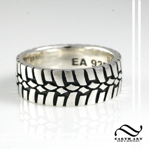 Mens Earth Tire Tread Ring- Sterling Silver