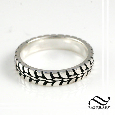 Narrow Tire Tread Ring - Sterling Silver - Wedding Band - Ladies