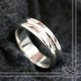 Double Band style Wedding Band - 14k gold white, yellow or rose